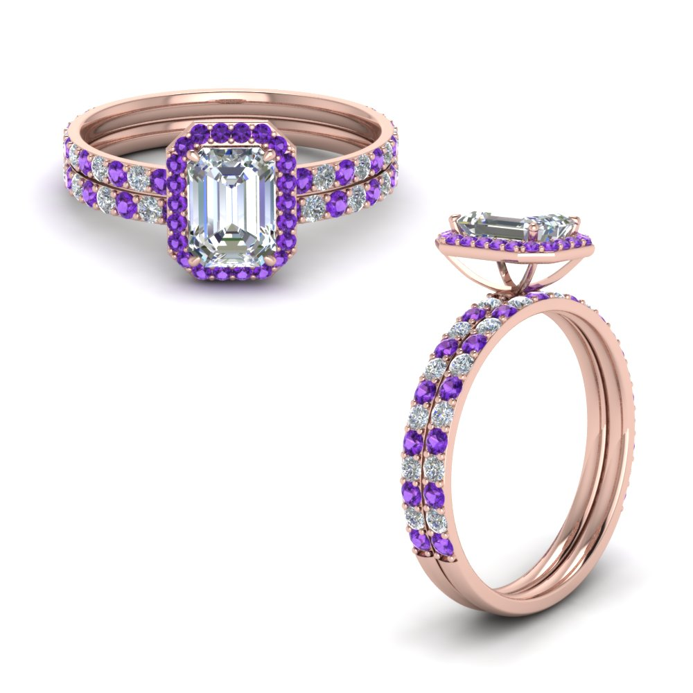 emerald cut delicate halo diamond bridal set with purple topaz in FD8499EMGVITOANGLE1 NL RG