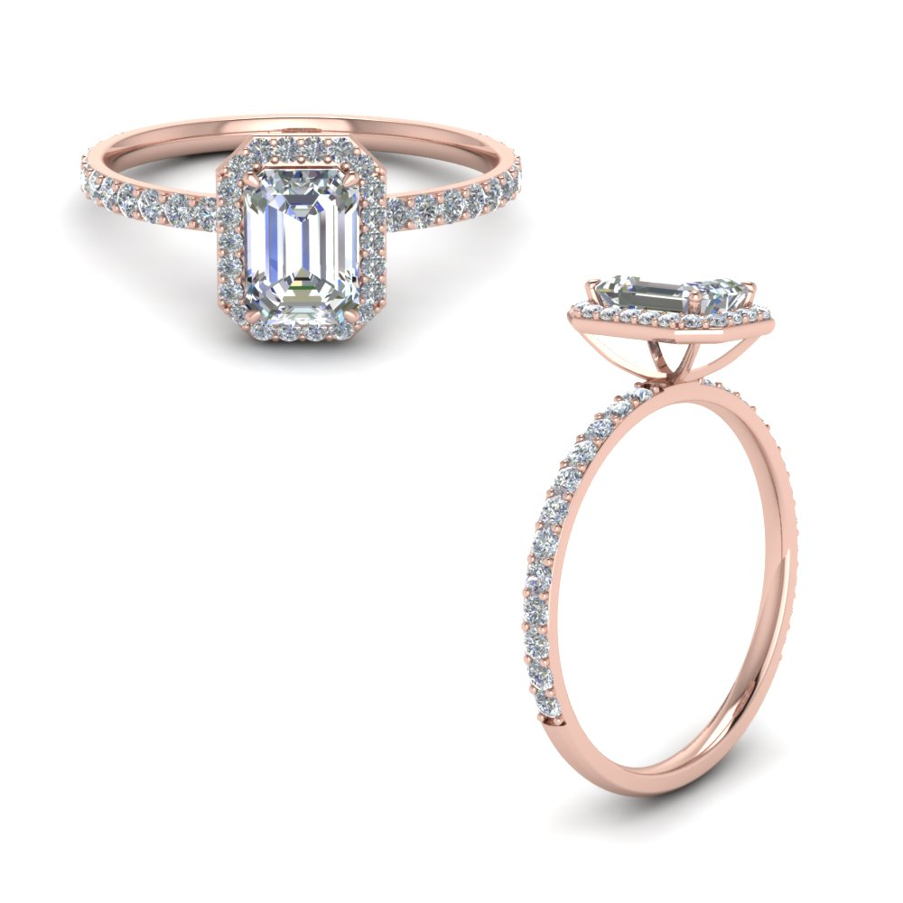 emerald cut halo diamond engagement ring in FD8499EMRANGLE1 NL RG