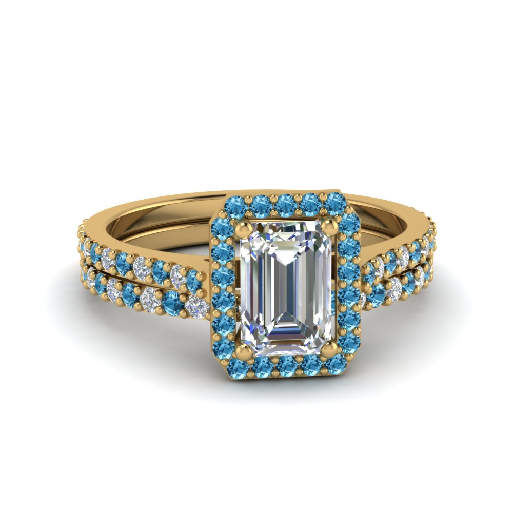 Emerald Cut Diamond Halo Ring And Band