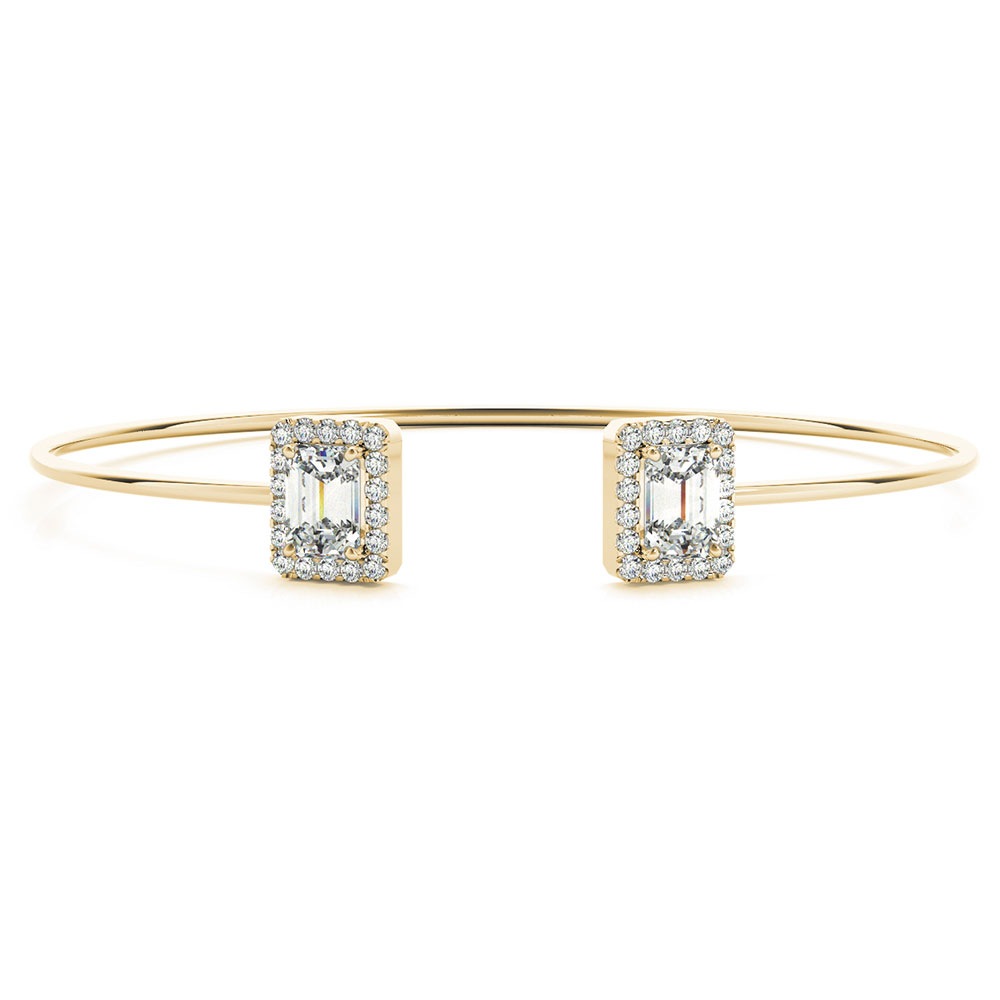Emerald Cut Halo Diamond Bracelet