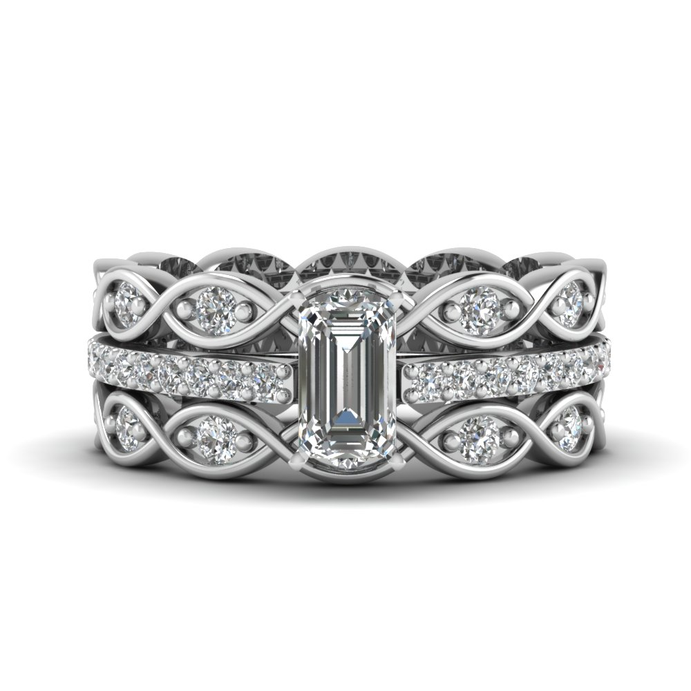 Emerald Cut Sapphire And Diamond Channel Wedding Set In 14k White Gold