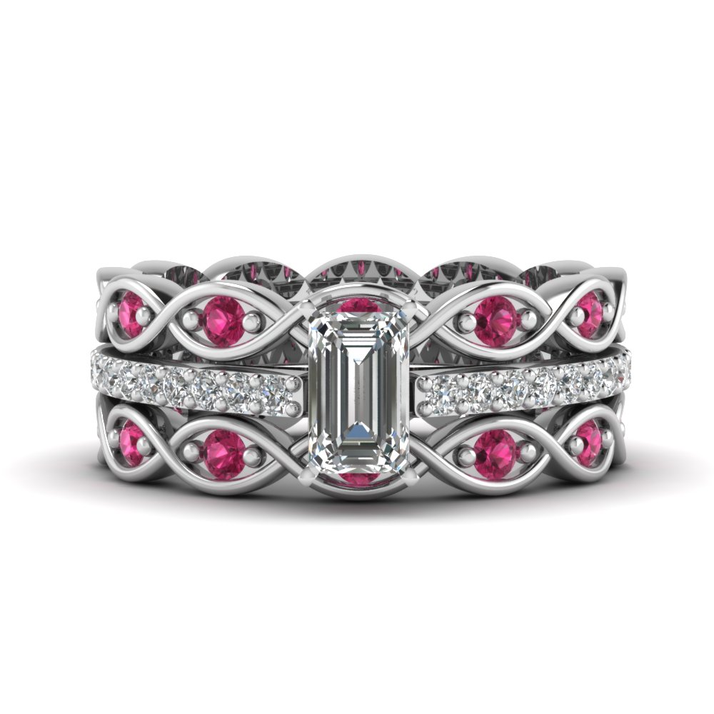 emerald cut trio infinity band diamond ring sets with pink sapphire in FD8047TEMGSADRPIANGLE1 NL WG