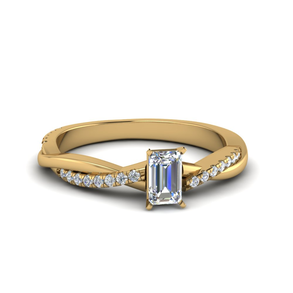 Emerald Cut Infinity Twist Diamond Engagement Ring In 14K Yellow Gold