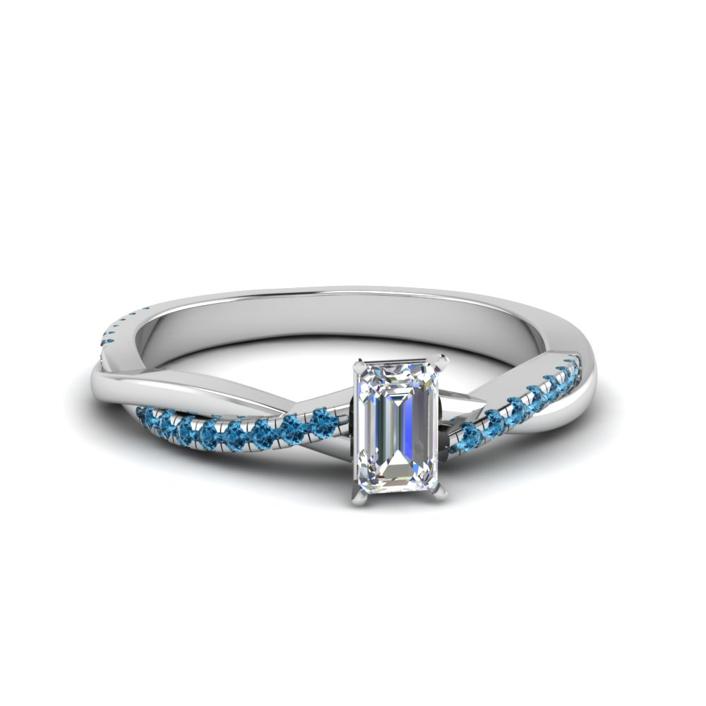 emerald cut Infinity twist diamond engagement ring with ice blue topaz in 14K white gold FD8253EMRGICBLTO NL WG