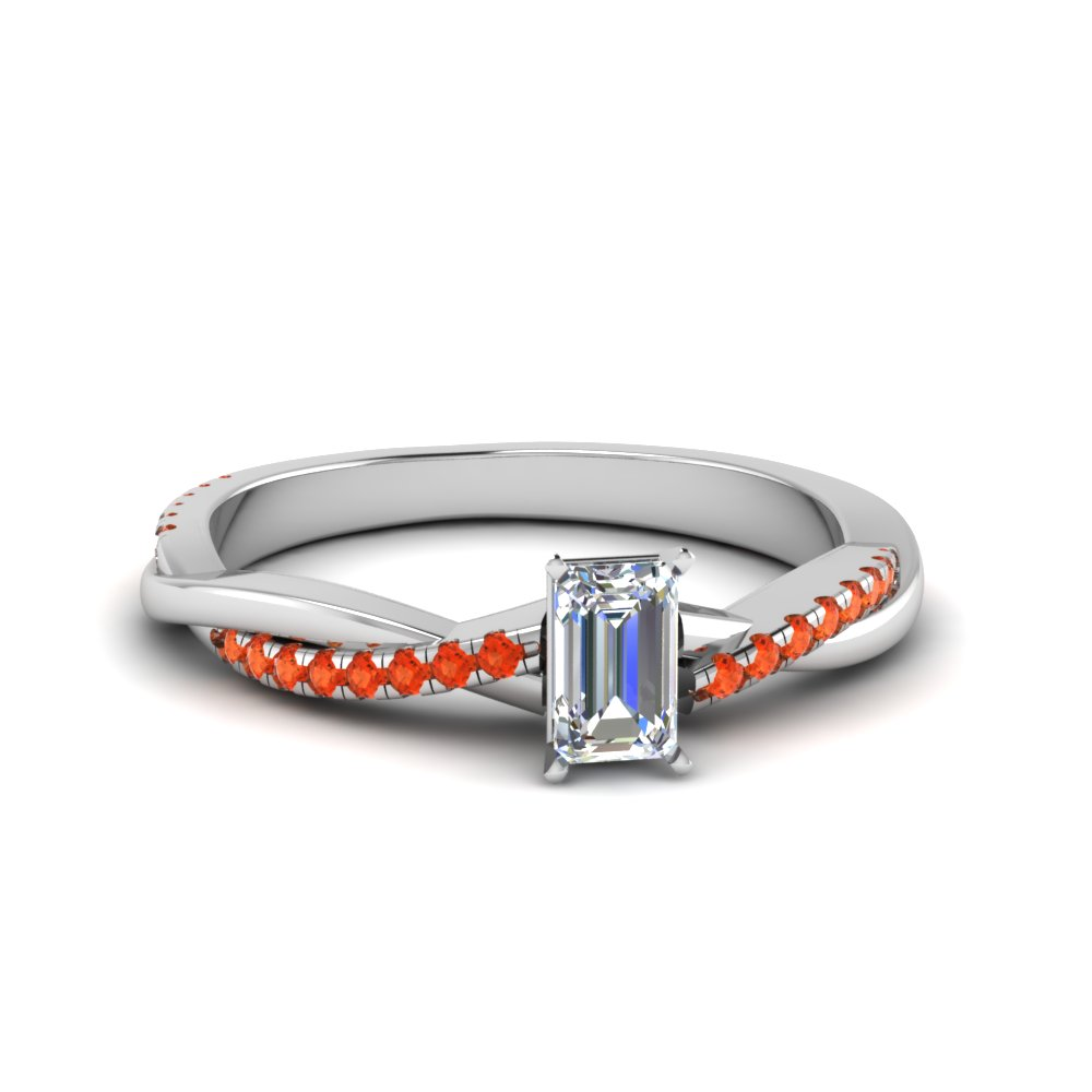 emerald cut Infinity twist diamond engagement ring with poppy topaz in 14K white gold FD8253EMRGPOTO NL WG