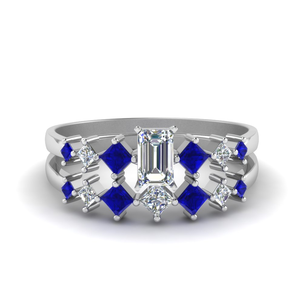 emerald cut kite set diamond bridal set with blue sapphire in FDENS3126EMGSABL NL WG