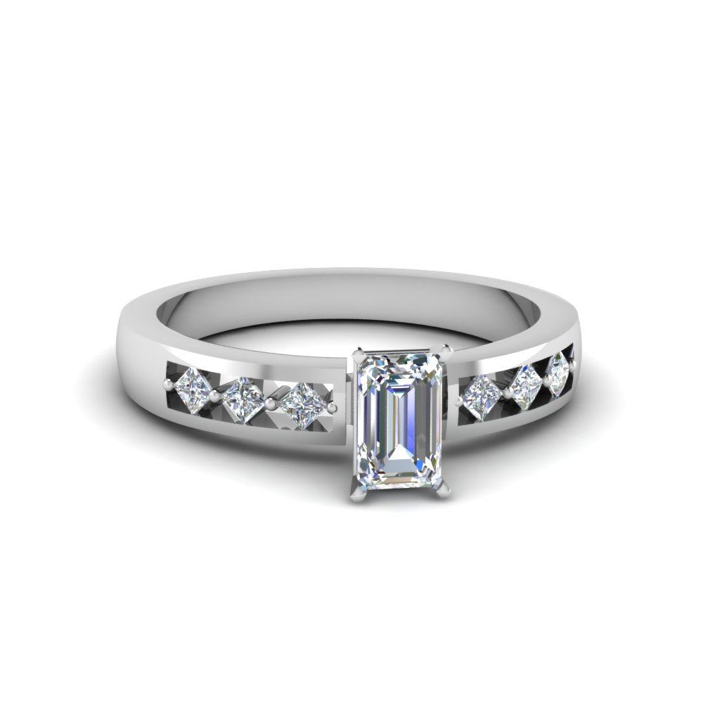 Emerald Cut Kite Set Engagement Ring