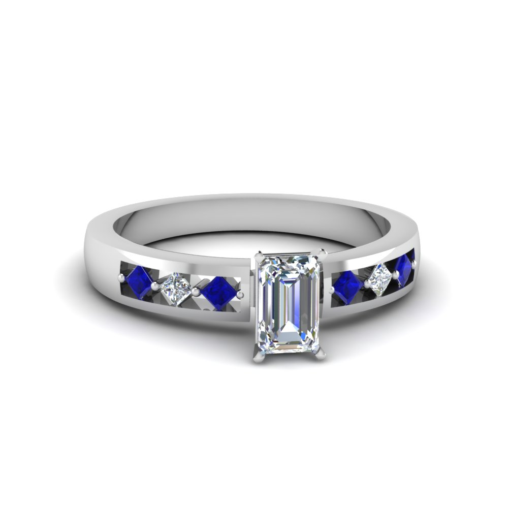 emerald cut kite set diamond engagement ring for women with blue sapphire in 14K white gold FDENS3075EMRGSABL NL WG