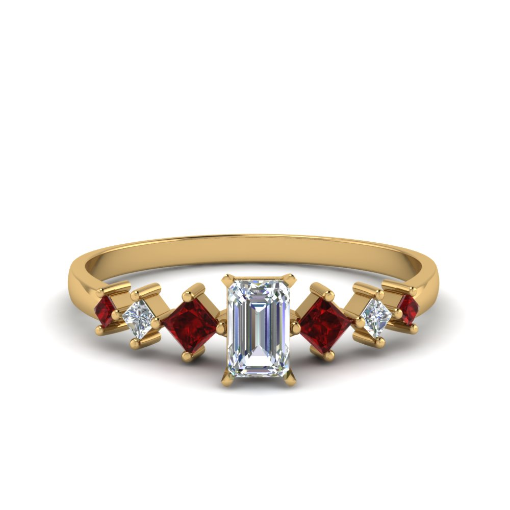emerald cut kite set diamond ring with ruby in 14K yellow gold FDENS3126EMRGRUDR NL YG