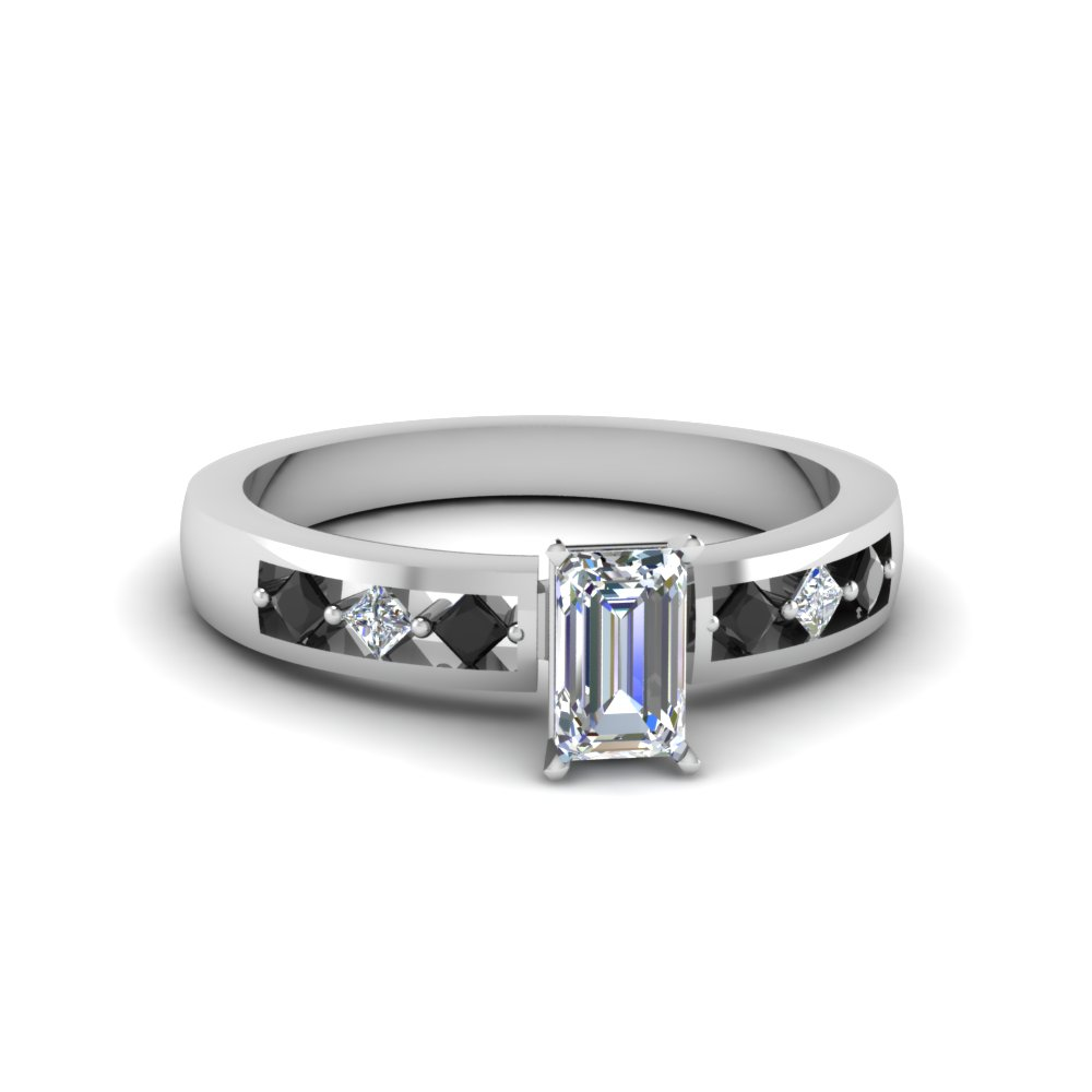 Emerald Cut Kite Set Engagement Ring For Women With Black Diamond In 14K Whit