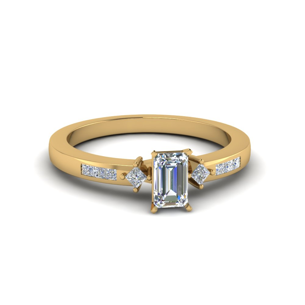 Emerald Cut Channel Set Ring