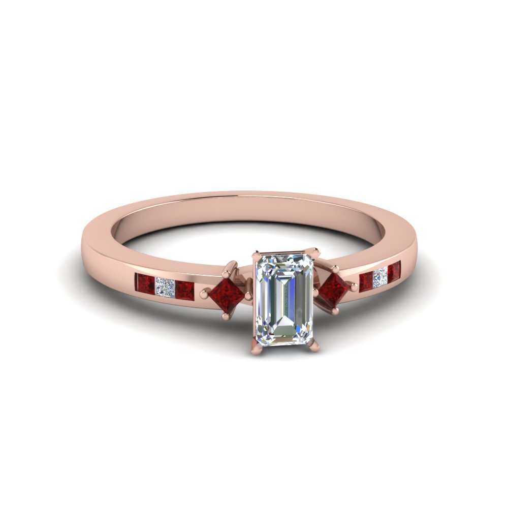 emerald cut kite style channel set accent diamond engagement ring with ruby in FDENS3121EMRGRUDR NL RG