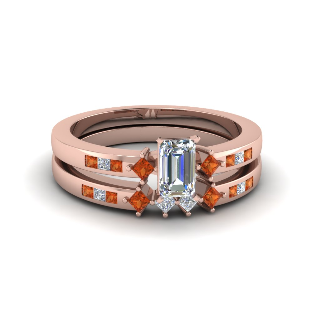 emerald cut kite style channel set accent diamond wedding ring set with orange sapphire in 18K rose gold FDENS3121EMGSAOR NL RG