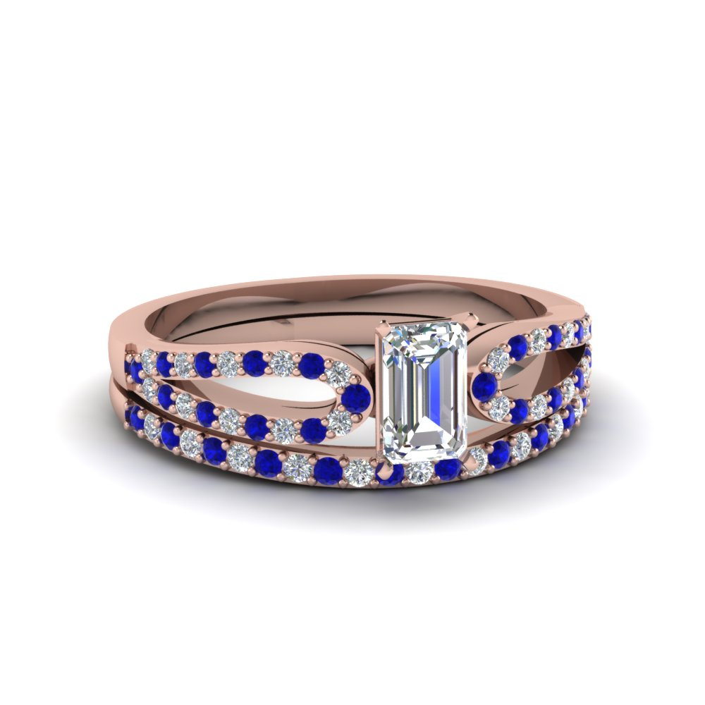 emerald cut loop diamond ring with sapphire matching band in 18K rose gold FDENS3323EMGSABL NL RG