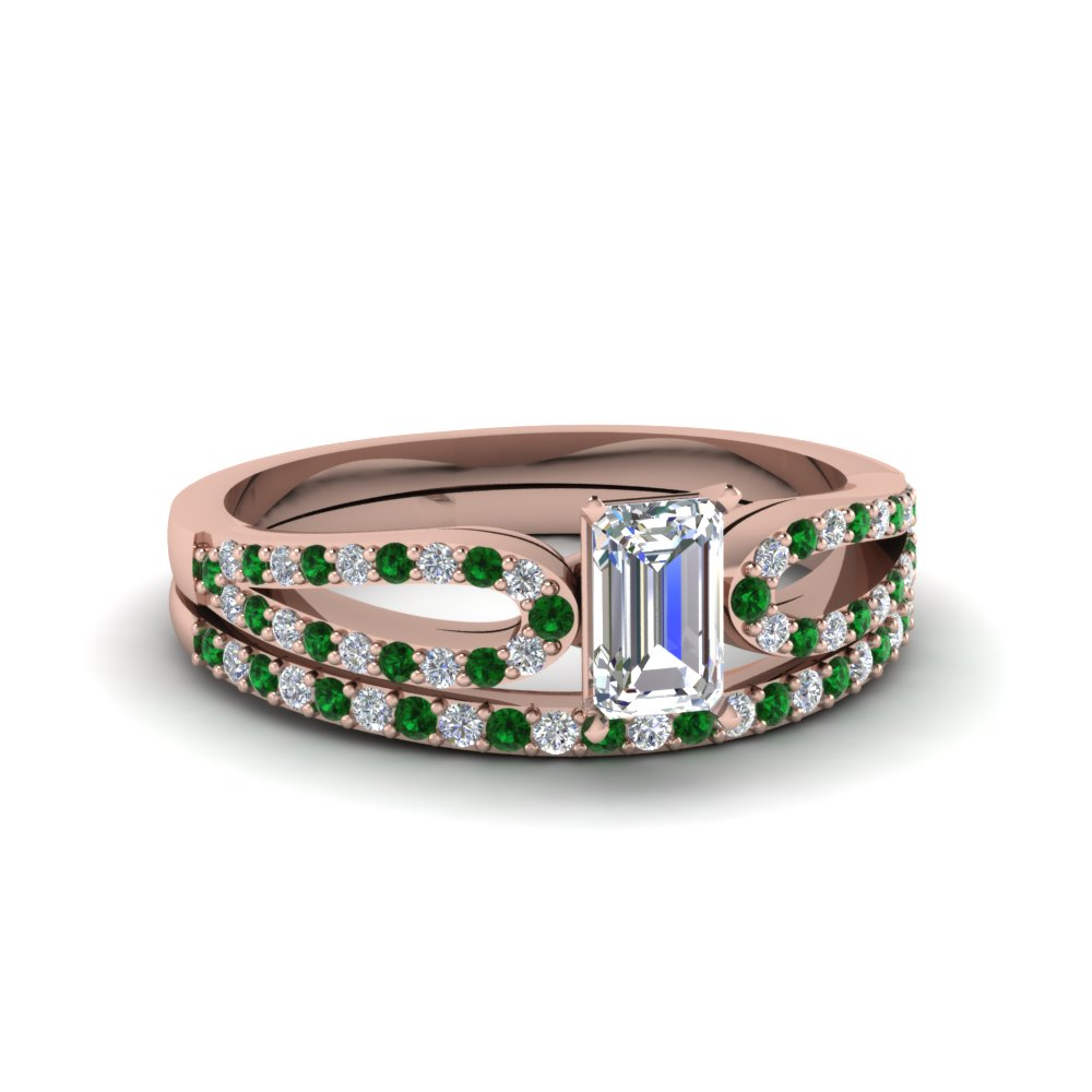 emerald cut loop diamond ring with emerald matching band in 14K rose gold FDENS3323EMGEMGR NL RG