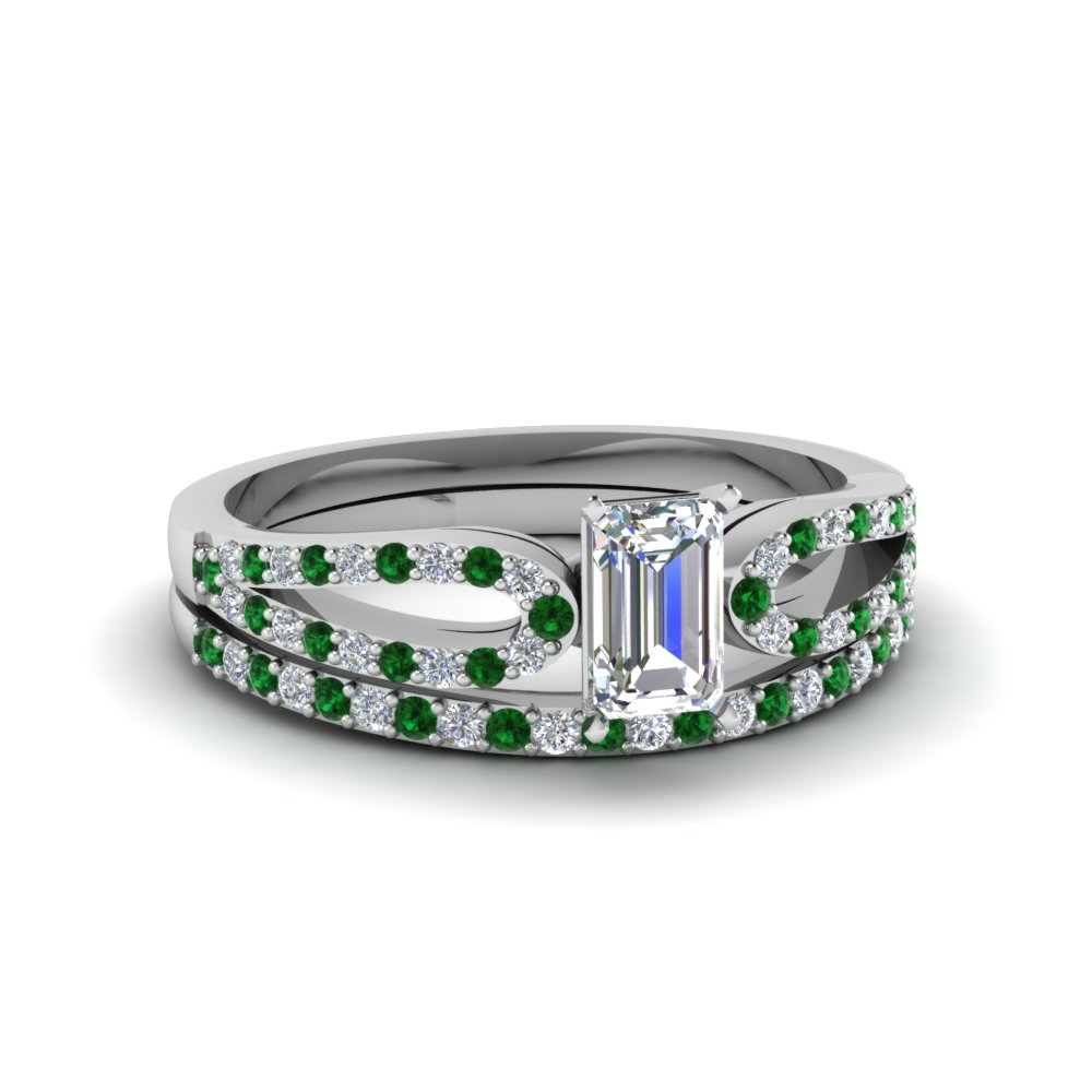 emerald cut loop diamond ring with emerald matching band in 950 platinum FDENS3323EMGEMGR NL WG