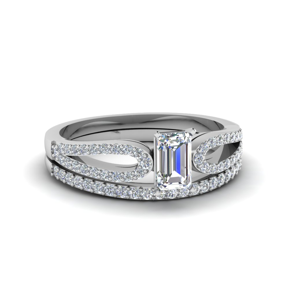 emerald cut loop diamond ring with matching band in 14K white gold FDENS3323EM NL WG