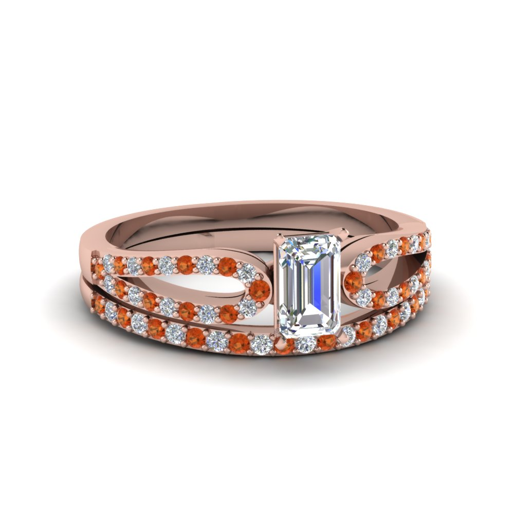 emerald cut loop diamond ring with orange sapphire matching band in 14K rose gold FDENS3323EMGSAOR NL RG
