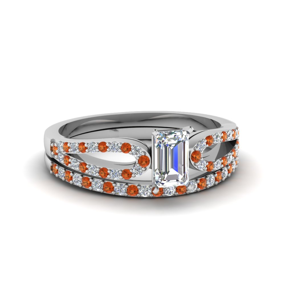 emerald cut loop diamond ring with orange sapphire matching band in 18K white gold FDENS3323EMGSAOR NL WG