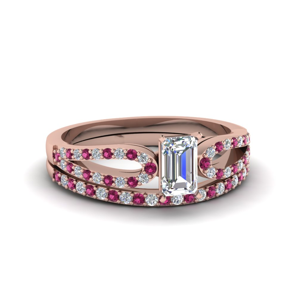 emerald cut loop diamond ring with pink sapphire matching band in 14K rose gold FDENS3323EMGSADRPI NL RG