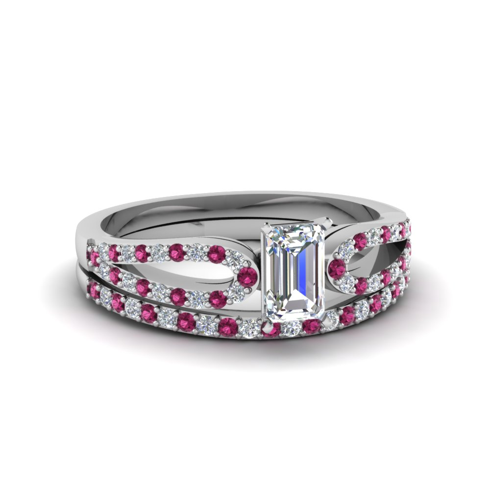 emerald cut loop diamond ring with pink sapphire matching band in 14K white gold FDENS3323EMGSADRPI NL WG
