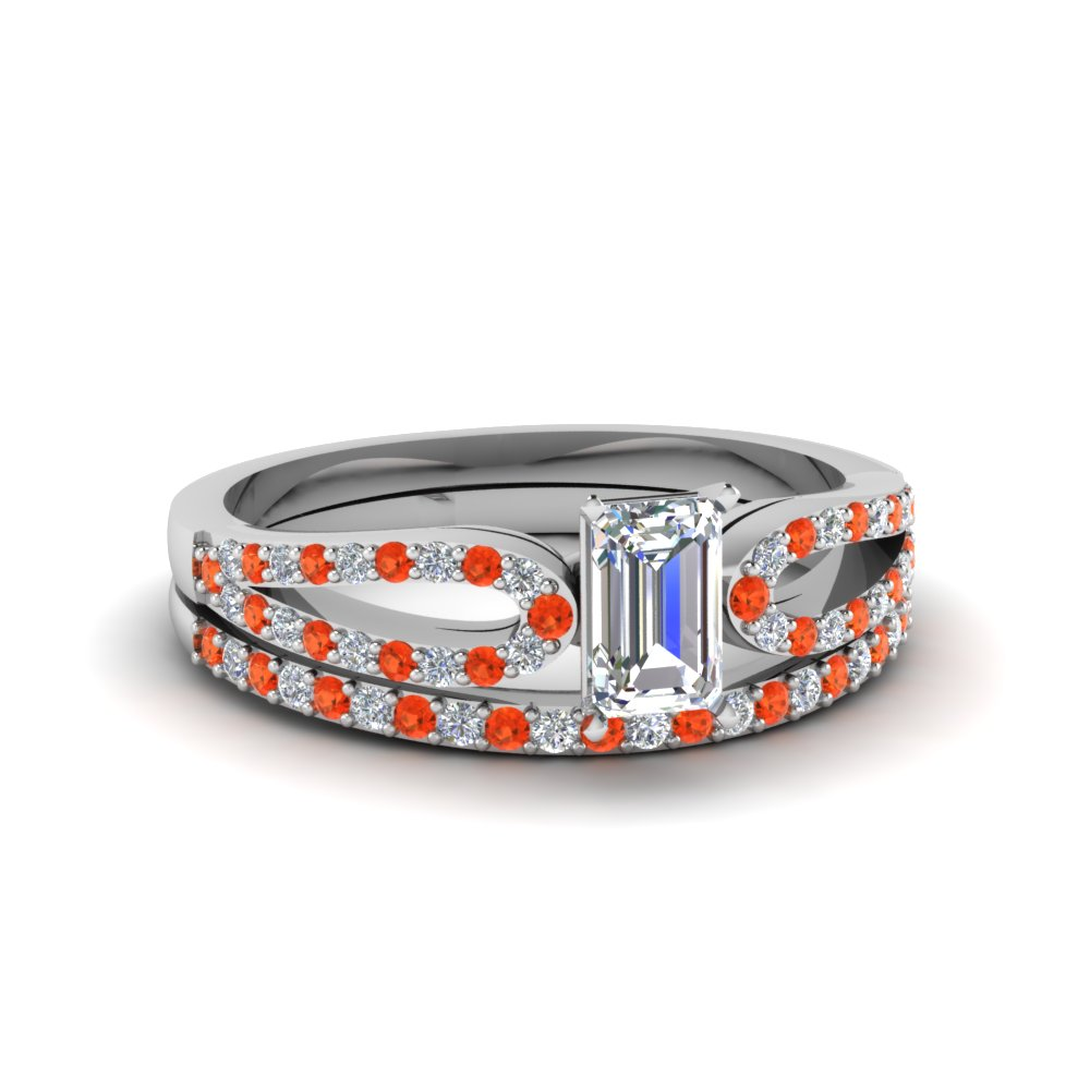 emerald cut loop diamond ring with orange topaz matching band in 14K white gold FDENS3323EMGPOTO NL WG