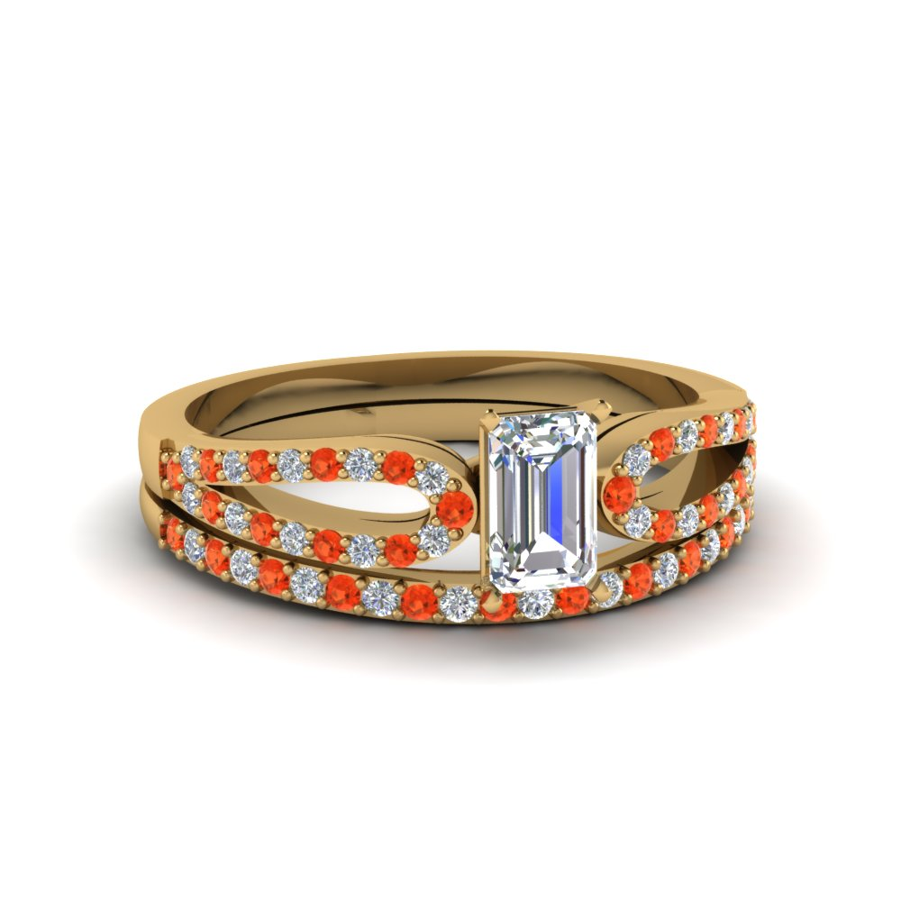 emerald cut loop diamond ring with orange topaz matching band in 18K yellow gold FDENS3323EMGPOTO NL YG