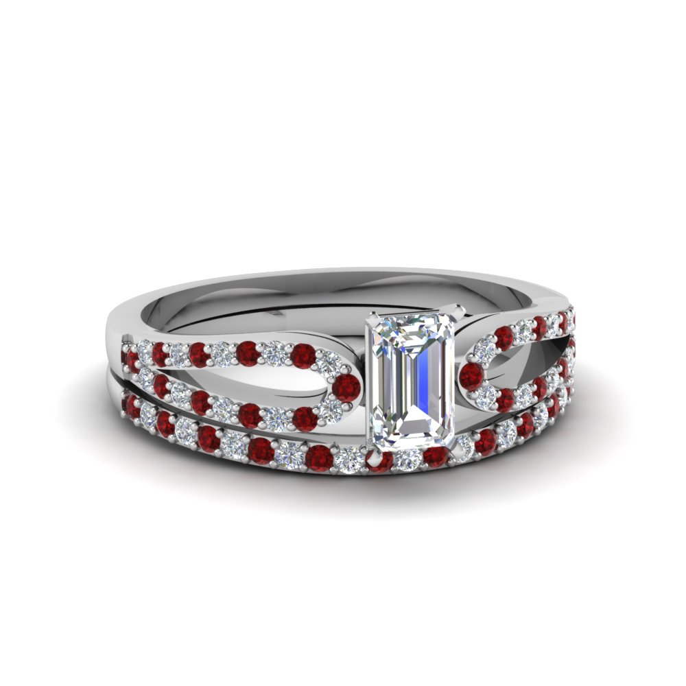 emerald cut loop diamond ring with ruby matching band in 14K white gold FDENS3323EMGRUDR NL WG