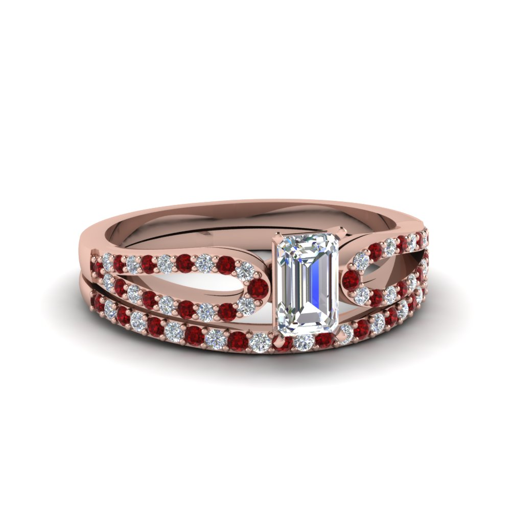 emerald cut loop diamond ring with ruby matching band in 18K rose gold FDENS3323EMGRUDR NL RG