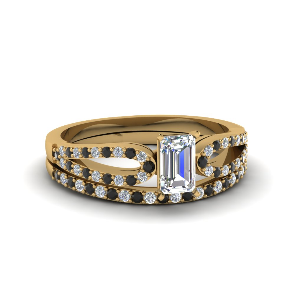 emerald cut loop ring with black diamond matching band in 18K yellow gold FDENS3323EMGBLACK NL YG