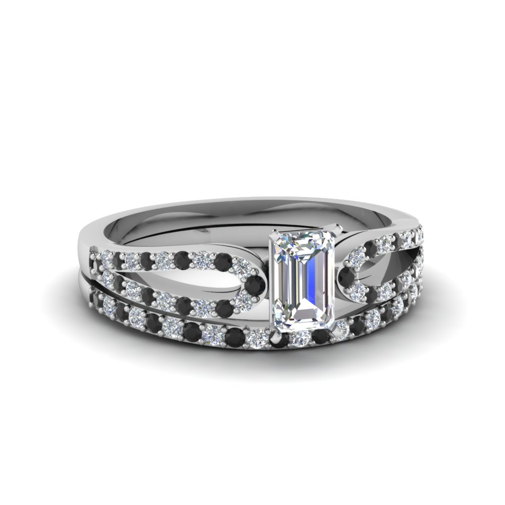 emerald cut loop ring with black diamond matching band in 950 platinum FDENS3323EMGBLACK NL WG