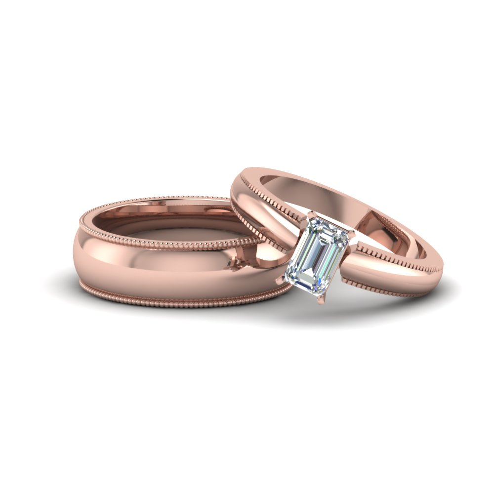 Emerald Cut Matching Wedding Anniversary Ring With Band For Him And Her In 14k Rose Gold