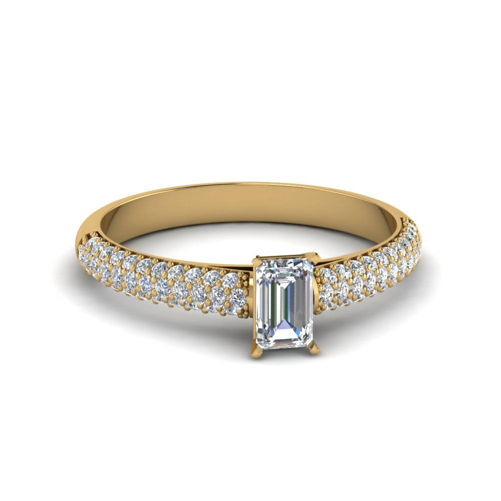 Triple Row Pave Diamond Ring
