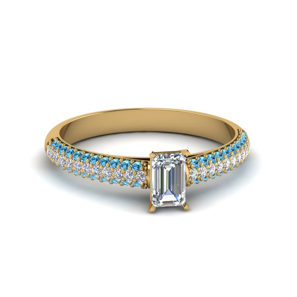emerald cut micropave natural diamond engagement ring with ice blue topaz in 14K yellow gold FD8254EMRGICBLTO NL YG