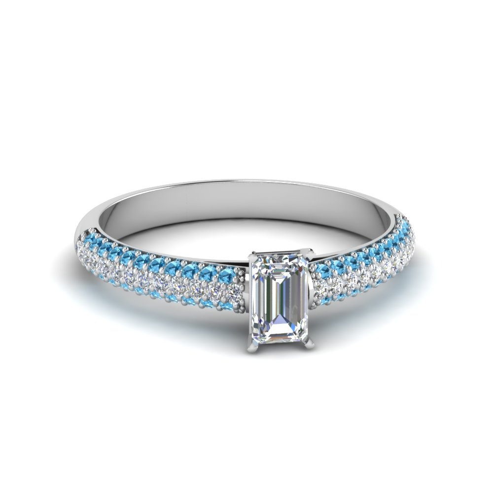 emerald cut micropave natural diamond engagement ring with ice blue topaz in 950 Platinum FD8254EMRGICBLTO NL WG