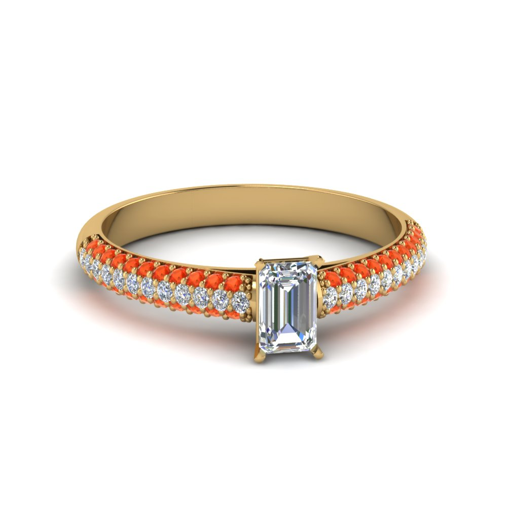 emerald cut micropave natural diamond engagement ring with poppy topaz in 14K yellow gold FD8254EMRGPOTO NL YG