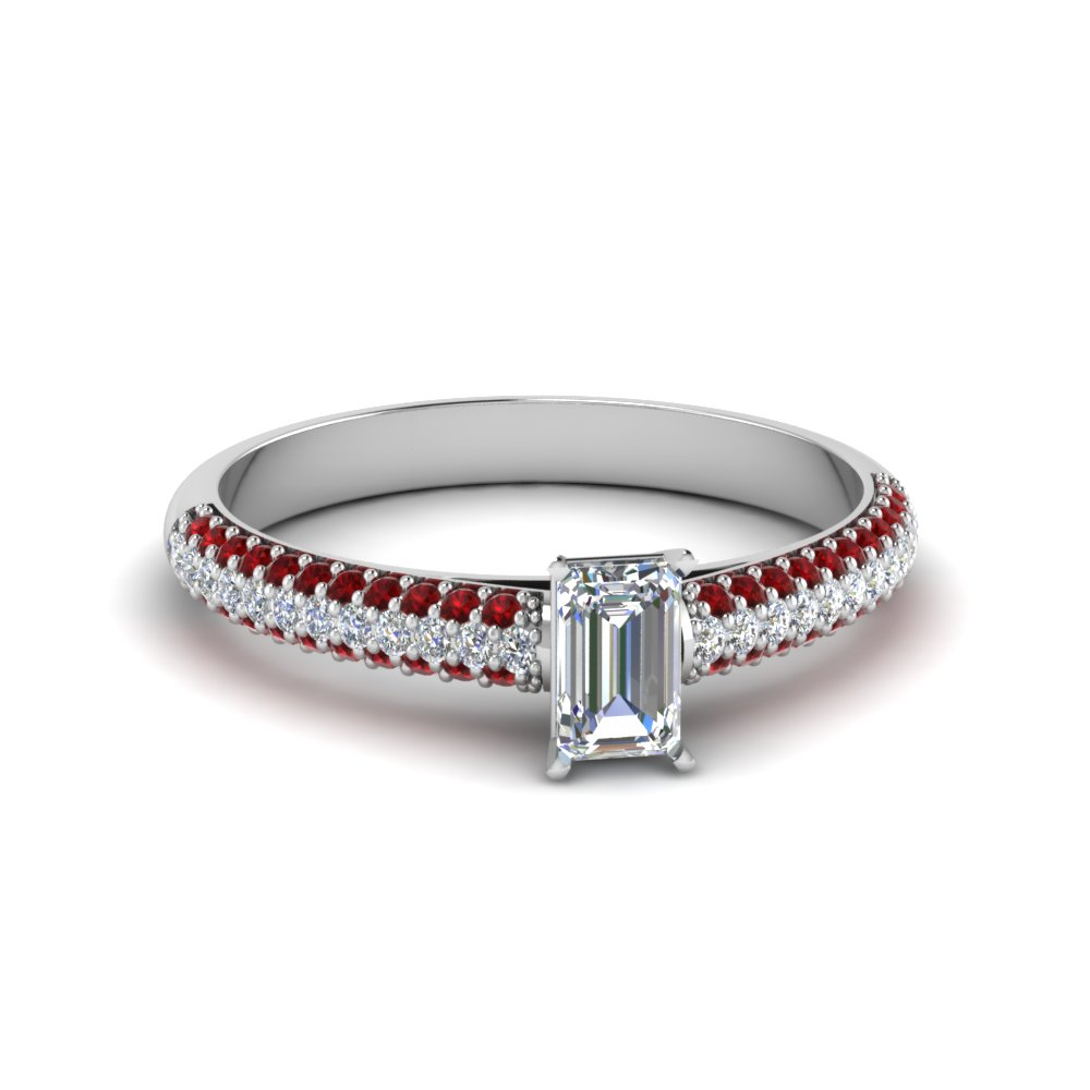 emerald cut micropave natural diamond engagement ring with ruby in 14K white gold FD8254EMRGRUDR NL WG