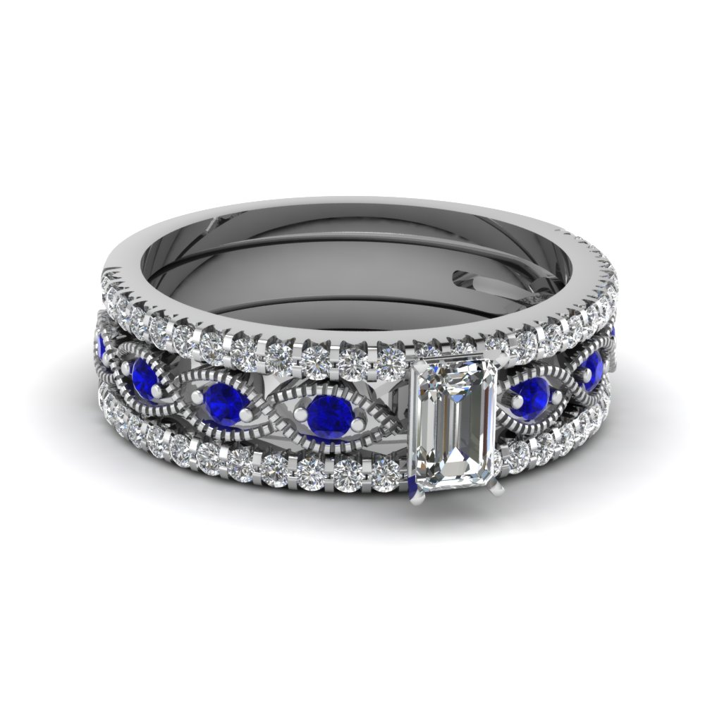 emerald cut milgrain diamond trio bridal sets with blue sapphire in 950 Platinum FD8037TEMGSABL NL WG