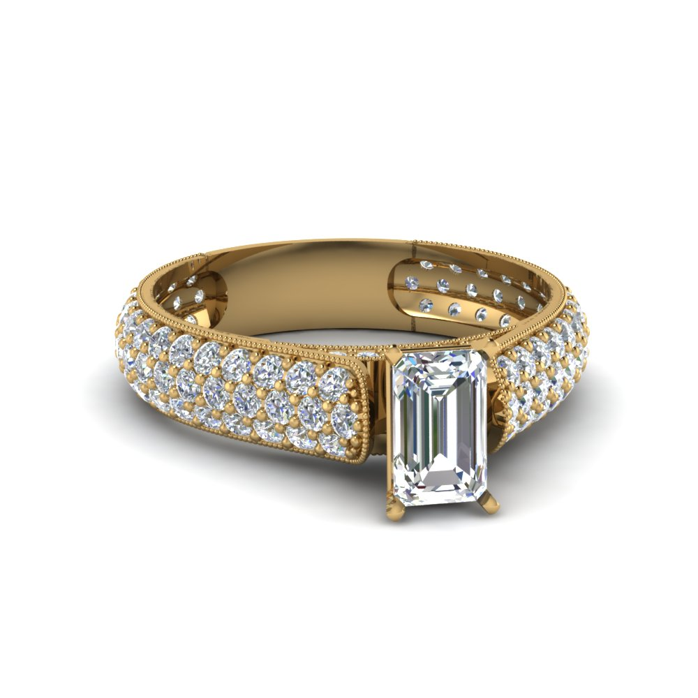 emerald cut milgrain multi row pave diamond engagement ring in 14K yellow gold FDENS1452EMR NL YG