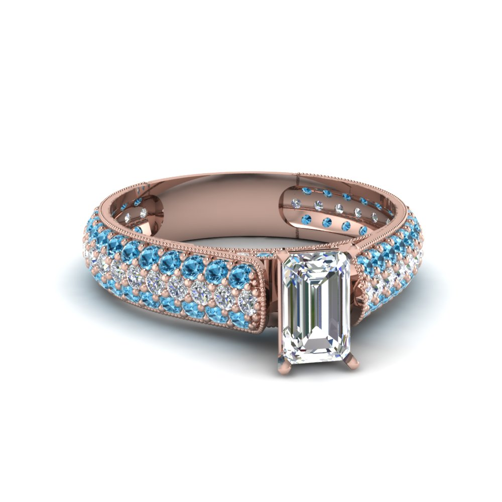 emerald cut milgrain multi row pave diamond engagement ring with blue topaz in 18K rose gold FDENS1452EMRGICBLTO NL RG