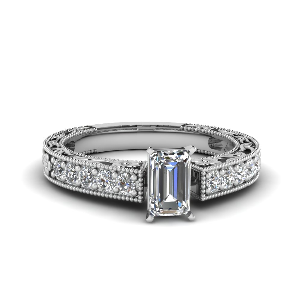 emerald cut milgrain pave diamond engagement ring in FDENS3506EMR NL WG