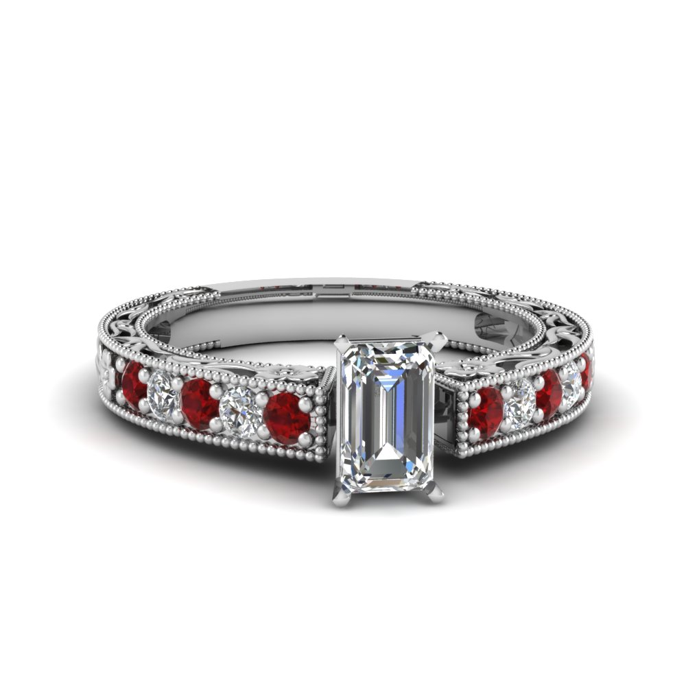 emerald cut milgrain pave diamond engagement ring with ruby in FDENS3506EMRGRUDR NL WG