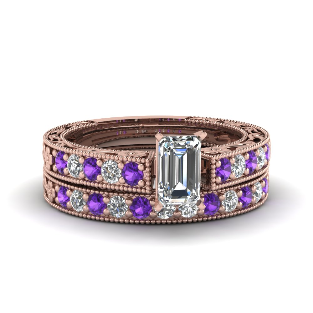 emerald cut milgrain pave moissanite wedding ring sets with purple topaz in FDENS3506EMGVITO NL RG
