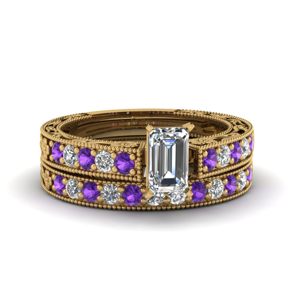 emerald cut milgrain pave moissanite wedding ring sets with purple topaz in FDENS3506EMGVITO NL YG