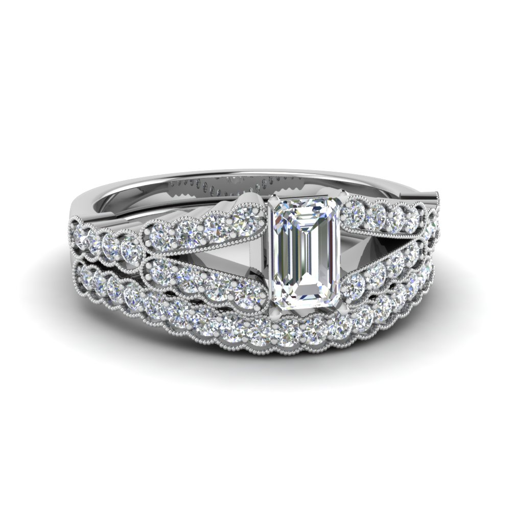 Bridal Set 0.75 Ct. Emerald Cut Diamond