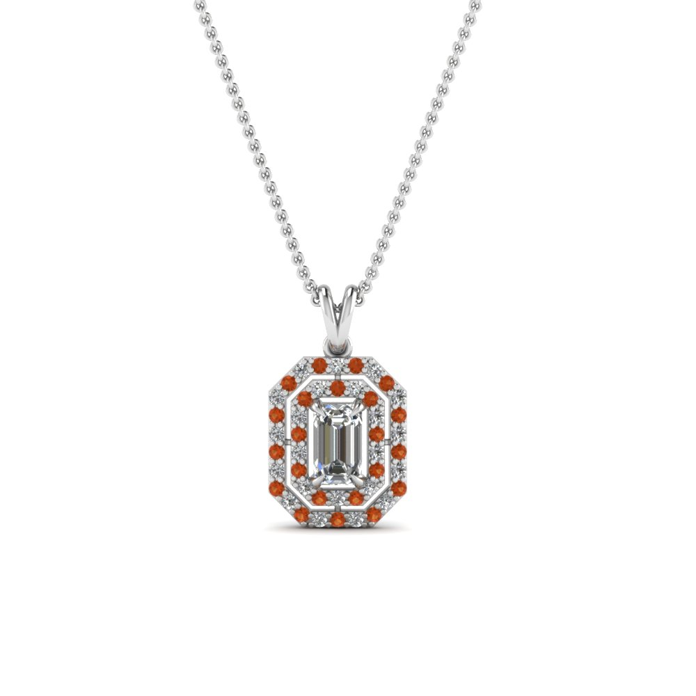 Double Halo Emerald Cut Pendant