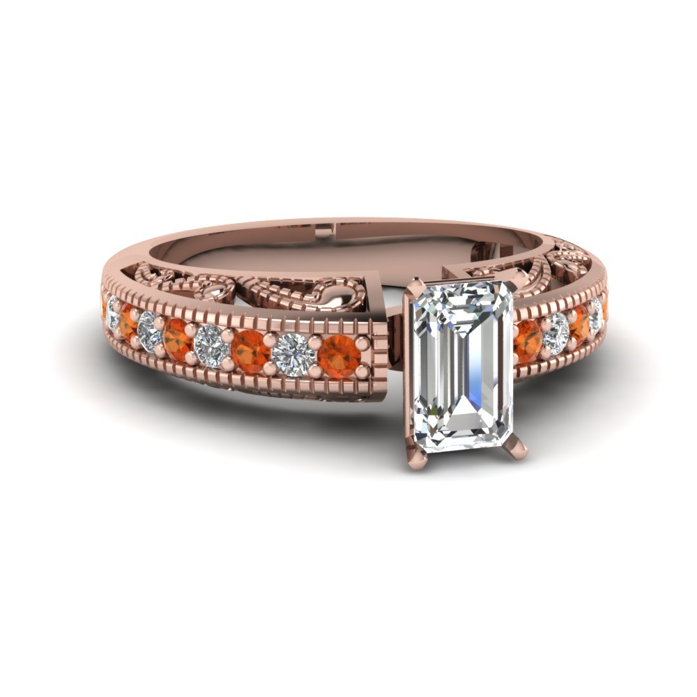emerald cut paisley intricate diamond vintage engagement ring with orange sapphire in FDENS613EMRGSAOR NL RG