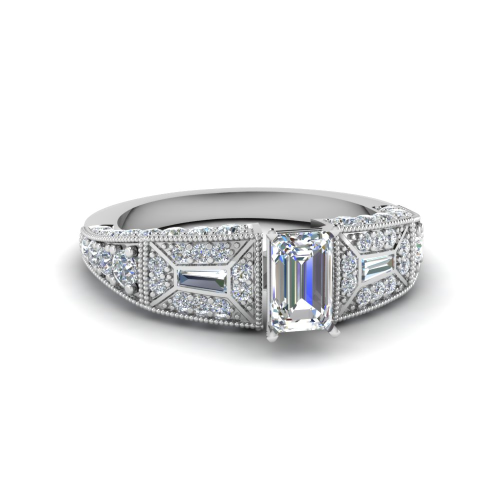 Emerald Cut Victorian Vintage Style Diamond Engagement