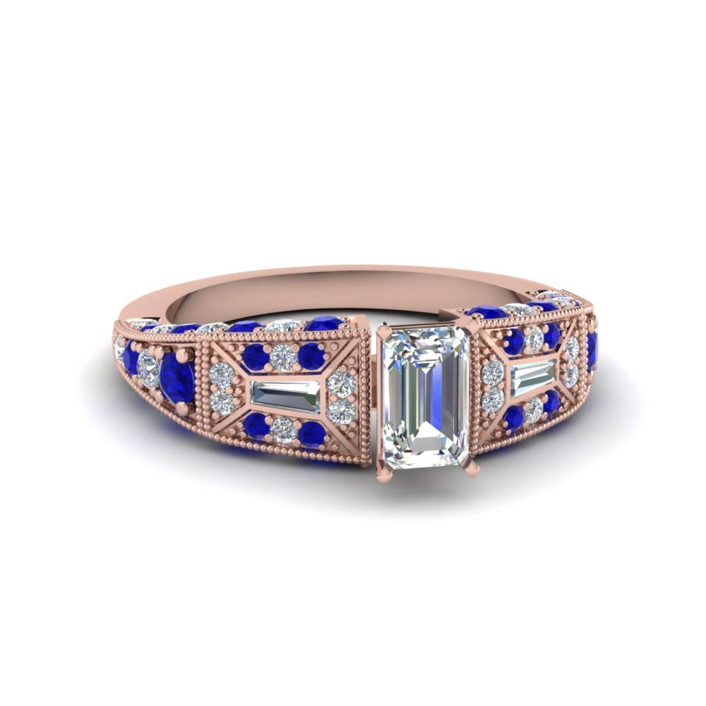 emerald cut victorian vintage style diamond engagement ring with sapphire in FDENR8601EMRGSABL NL RG