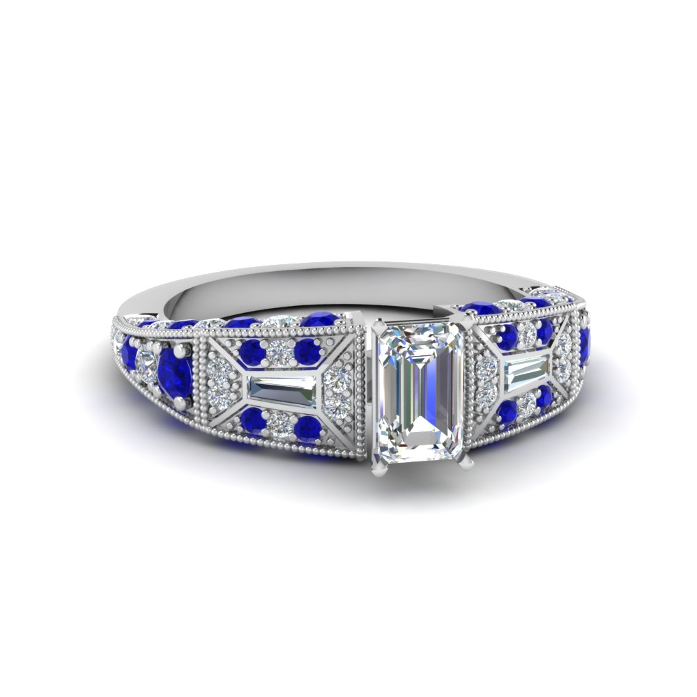 emerald cut victorian vintage style diamond engagement ring with sapphire in FDENR8601EMRGSABL NL WG